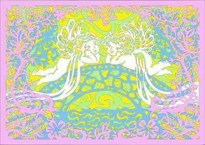Вытынанки Вытынанка 130423 Базовый набор Ангелочки на мосту (многослойные)