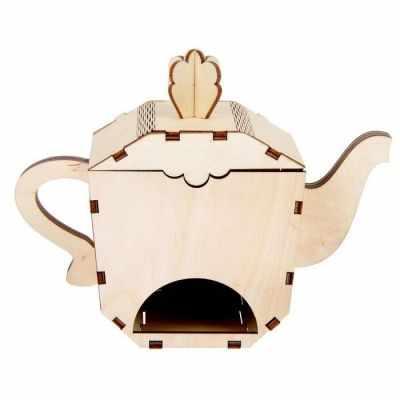 2078107 Чайный домик из фанеры для декора Чайник