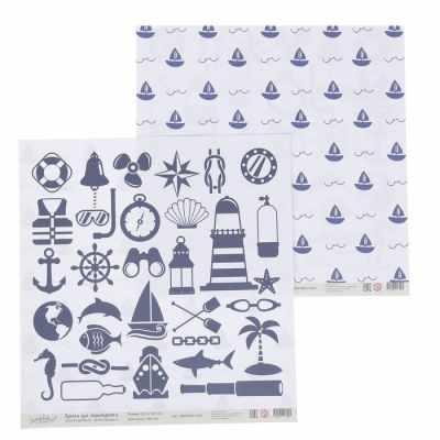 2867287 Бумага для скрапбукинга Морской. Кораблики и морские символы