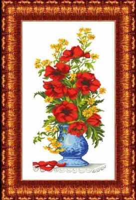 КТКН 129 Маки в вазе - набор (Каролинка)