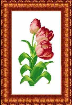 КТКН 130 (р) Тюльпаны  набор (Каролинка) - Наборы для вышивания «Каролинка»
