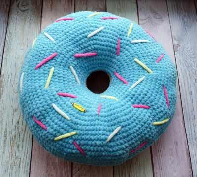 Подушка  Пончик голубой  33 см - Игрушки ручной работы