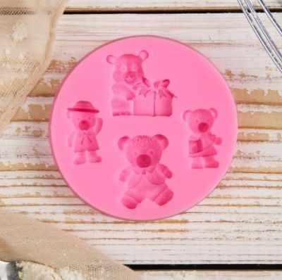 """2818775 Молд """"Четыре мишки"""", розовый"""