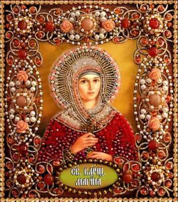 77-и-68 Святая Марина  Образа в каменьях  - Наборы для вышивания икон «Образа в каменьях»