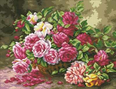 Мозаичная картина Паутинка Алмазная вышивка М254 Корзина садовых роз - мозаика (Паутинка)