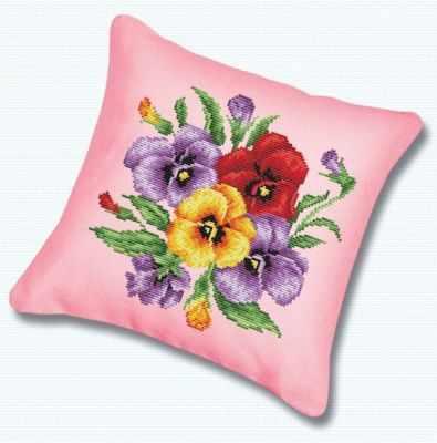 Подушка 011 Фиалки канва розовая (Белоснежка) - Наборы для вышивания «Белоснежка»