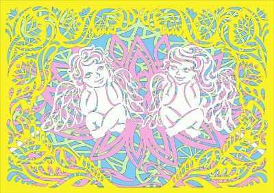 Вытынанки Вытынанка 130427 Базовый набор Ангелочки в лотосе (многослойные)