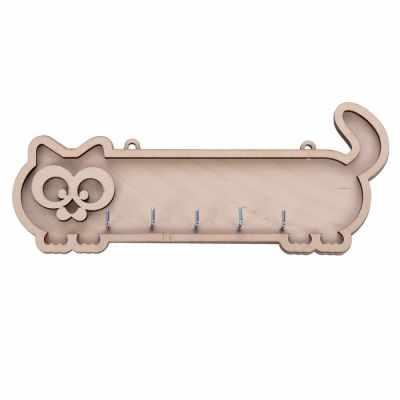 2761655 Ключница из фанеры Длинный кот 5 крючков