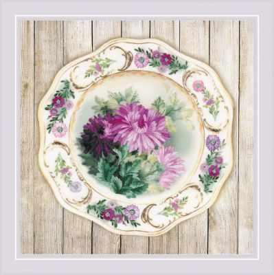 РТ0076  Тарелка с хризантемами. Гладь  - Наборы для вышивания «Риолис»