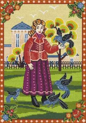 0265 Девочка и голуби (Nitex) - Наборы для вышивания «NITEX»
