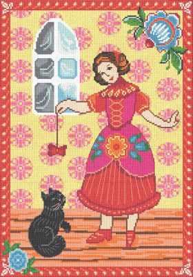 0266 Девочка и кот (Nitex) - Наборы для вышивания «NITEX»