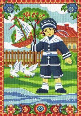 0267 Мальчик с корабликом (Nitex) - Наборы для вышивания «NITEX»