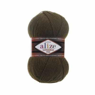 Пряжа Alize Пряжа Alize Lanagold Fine Цвет.214 Оливковый зел