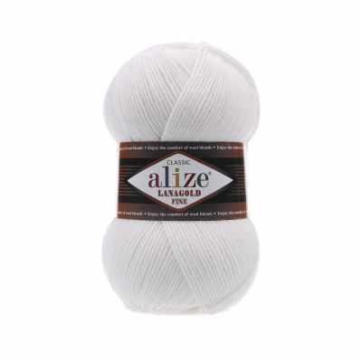 Пряжа Alize Пряжа Alize Lanagold Fine Цвет.55 Белый