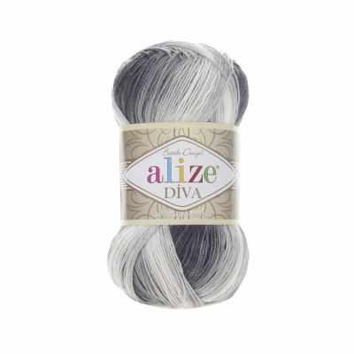 Пряжа Alize Пряжа Alize Diva Batik Цвет.1900 бел.сер.т.серый