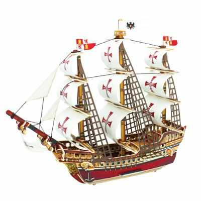 BA502S Деревянные 3D пазлы Корабль Санта-Мария, 64 детали
