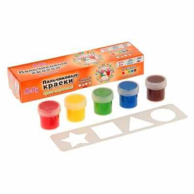 цена на Набор для детского творчества Molly FP-12 Пальчиковые краски + трафарет Геометрия