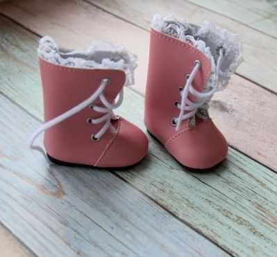Заготовки и материалы для изготовления игрушки Pugovka Doll Сапоги розовые со шнурками, 6,5 см