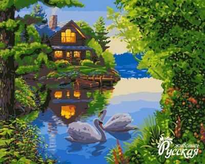 A068 Дом у озера - Раскраски «Русская живопись»