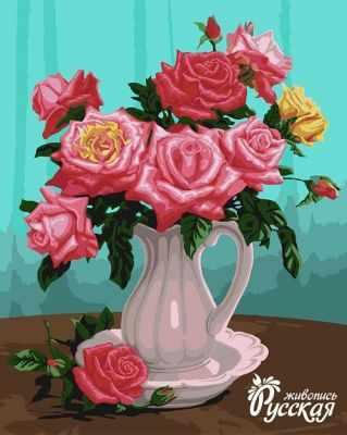 B052 Розы в белой вазе - Раскраски «Русская живопись»