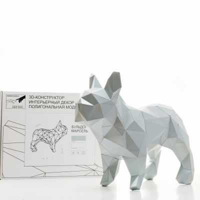 """3D Фигура """"Бульдог Марсель"""", платиновый, набор для творчества"""