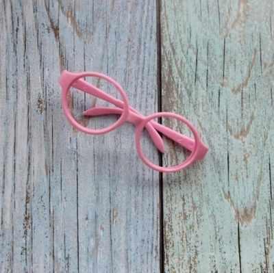Заготовки и материалы для изготовления игрушки Pugovka Doll Очки пластик круглые, розовый
