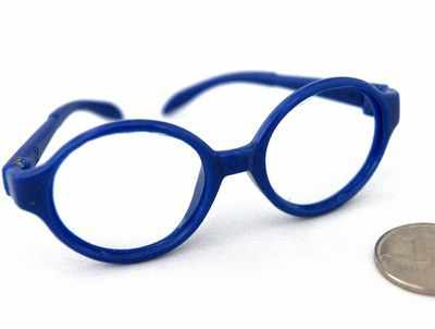 26198 Очки без стекла , пластик, круглые, 7 см , (1шт) цв.синий