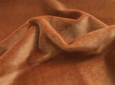 25987 Трикотаж бархат Элит плотный, ворс  1,3 мм, 80% хлопок/20% полиэстер, (50 см*50 см), цв. коричнево-оранжевый