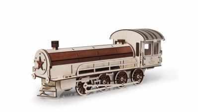 00-6 Конструктор 3D деревянный Паровоз подарочный