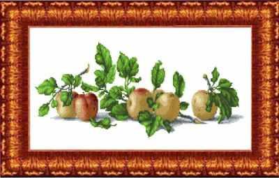 КТКН 133 (р) Натюрморт с яблоками  набор (Каролинка) - Наборы для вышивания «Каролинка»
