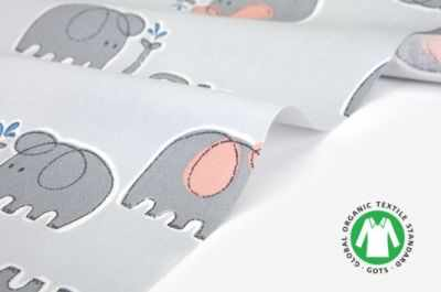 Ткани Dailylike 480 Серые слоники (45*55 см)