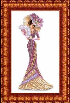 КБЛН(ч) 3013 Дама с кофе  набор (Каролинка) - Наборы для вышивания «Каролинка»