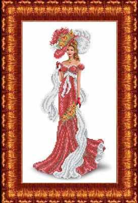 Набор для вышивания Каролинка КБЛН(ч) 3015 Дама с шарфом - набор