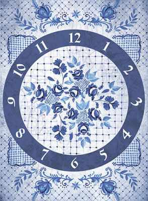 "CP01872 ""Гжель: часы"" рисовая бумага для декупажа ""Craft Premier"""