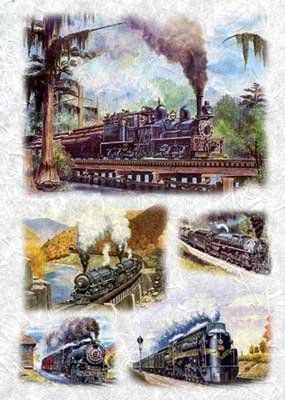 0064 Поезда бумага рисовая 32x45 см