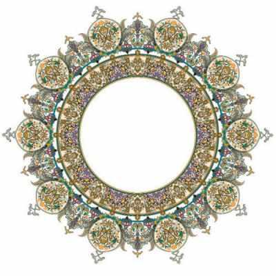 Трансфер для декупажа - Трансфер для стекла и керамики (запекаемый) с золотом ''Турецкий круглый поднос'' (OD-133)