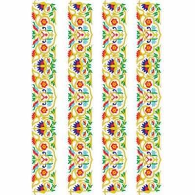 Трансфер для декупажа - Трансфер для стекла и керамики глиттер (запекаемый) ''Турецкая роспись бордюр'' (OSD-01)