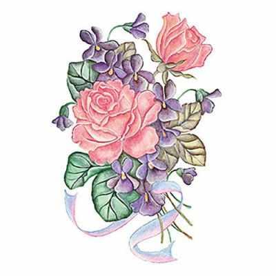 Трансфер для декупажа - Трансфер универсальный (T-206) Розы с лентой трансфер универсальный мелкие цветочки 25 см х 35 см sm 094