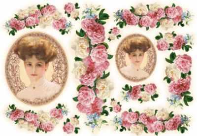 DFS079 Бумага рисовая для декупажа Stamperia, Женщины с розами  48х33 см, 28 гр .