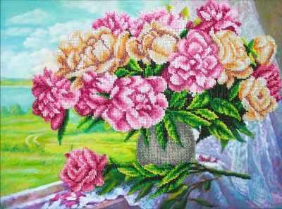 Б1274 Розовые пионы (Паутинка) - Наборы для вышивания «Паутинка»