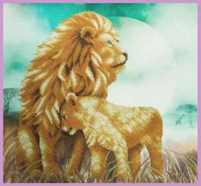 Набор для вышивания Картины бисером Р-343 Львы - набор для вышивания