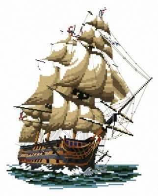 1001-14 Корабль  Виктория  (Белоснежка) - Наборы для вышивания «Белоснежка»