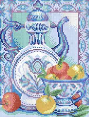Ткань с нанесенной схемой для вышивания Наследие ДА4-058 Гжель 1 - схема для вышивания (Наследие)