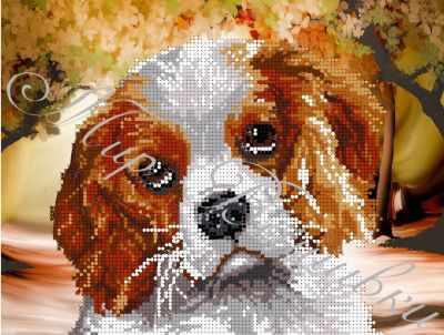 Ткань с нанесенной схемой для вышивания Наследие ДА4-076 Милый щенок - схема для вышивания (Наследие)