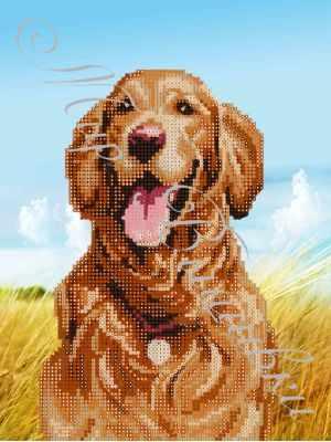 Ткань с нанесенной схемой для вышивания Наследие ДА4-078 Счастливый пес - схема для вышивания (Наследие)