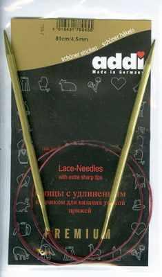 Инструмент для вязания ADDI 755-7/4,5-80 Спицы, круговые, с удлиненным кончиком, №4,5, 80 см, для тонкой пряжи