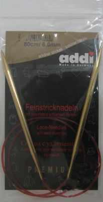 Инструмент для вязания ADDI 755-7/6-80 Спицы, круговые, с удлиненным кончиком, №6, 80 см, для тонкой пряжи.