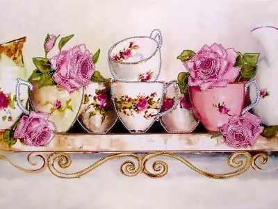 FLS-038 Схема для вышивания бисером Чайные розы 3