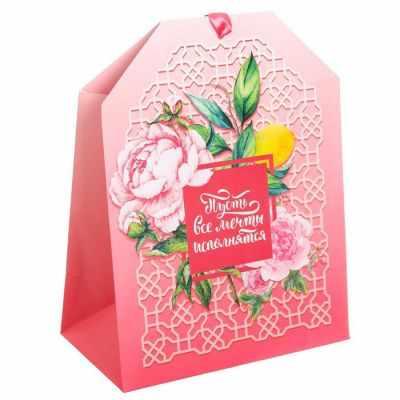 Подарочный конверт Дарите Счастье 2963396 Пакет -шильдик Пусть все мечты исполнятся кашпо флористическое дарите счастье 4097700 голубой 15 х 21 х 30 см