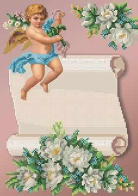 Основа для вышивания с нанесённым рисунком MOSMARA ММДМ-003 Ангелок с цветочком. Для девочек. - схема для вышивания (MOSMARA)